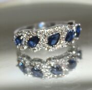 Christmas 1.44ct Natural Round Diamond 14k Solid White Gold Sapphire Ring Size 7