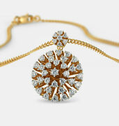 Christmas 1.15ct Natural Round Diamond 14k Solid Yellow Gold Pendant