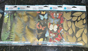 Martha Stewart Butterfly, Leaves And Fern Stickers Crafts 5 Packs 68 Pcs Lot