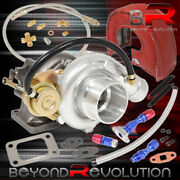 T3 T4 Jdm Turbo Charger Flange Vband + Oil Line Kit + Heat Shield Cover Red