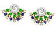 Christmas 1.05ct Natural Round Diamond Emerald And Sapphire 14k Gold Earring