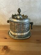 Antique Moroccan Silver Plated Serving Container With Inlayed Camel Bone
