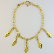Signed Vintage Gold Tone Necklace With And039cc Logoand039 Charms