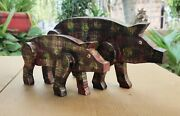 Old Wood Pig Hand Made Carved Painted Statue Pair Figure Collectible Home Art