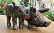 Old Wood Pig Unique Hand Made Carved Painted Statue Pair Figure Collectible Art