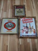 3 Nos Leroux Liquor Schnapps Bar Advertising Mirrors Root Beer 3d Vintage Signs