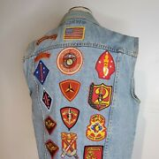 Vintage 90s Usmc Marine Corps Denim Vest With Patches On Back Today's News Large
