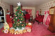 Vintage Fully Furnished Ooak Arts And Crafts Christmas Dollhouse