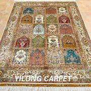 Yilong 4and039x6and039 Golden Silk Rugs Handmade Garden Scenes Carpets Hand Knotted 0121
