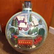 Huge Vintage Animated Train Christmas Tree Ornament Motorized Battery Operated