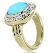 14k Gold Two-tone Sleeping Beauty Turquoise Doublet Ring