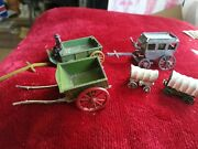 Collection Of Vintage Lead Britains Wild West Stage Coach Wagons Etc