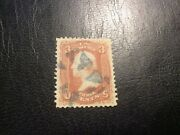 Vintage Stamp Used U.s 3 Cents George Washington Rose F-grill Issue Of 1867