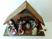 Nativity Set 9 Ceramic Figurines Wooden Christmas Manger Made In Italy Vintage