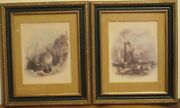 Antique Art Paintings And Wood Antique Frames Pair Untitled Image 6 X 7