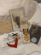 ➡➡us Ww1 Vet Set Boxed Victory Medal With Clasp, Dog Tags, Photos, 1a Draft Wwi