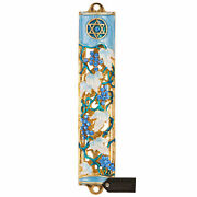 Hand Painted 6 Blue-ivory Enamel Grape Mezuzah With Gold Accents And Crystals