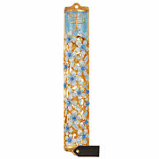 Hand Painted 5.5 Blue And Ivory Enamel Flower Mezuzah W/ Gold Accent And Crystals