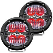 Rigid 36116 360-series Led Light 4 Round Driving Optics Red Backlight Pair 2