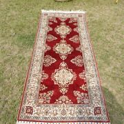 Yilong 2.5and039x6and039 Red Silk Long Stair Rug Runner Handwoven Lobby Carpet Strip 206a