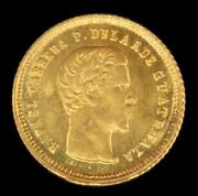 1860 Guatemala 4r Reales Gold Coin Choice Brilliant Uncirculated