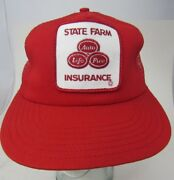 Vtg State Farm Insurance Auto Life Fire Patch Trucker Hat Red Made In Usa A9