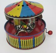 Antique Tin Litho Mechanical Wind Musical Merry Go Round Carousel Made In Usa