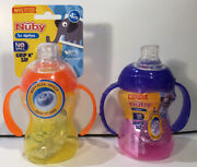 Lot Of 2 Nuby Grip N Sip Super Spout Sippy Cup With Handles 4m+ 8 Oz