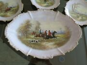 Antique Limoges Hand Painted Plates- Hunting Scene