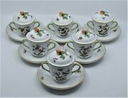 Herend Hand Painted Consume Covered Soup Cups Lids Saucers Hungary Rothschild