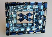 Sherman Signed Brooch Vintage Sapphire Blue Crystal Art Deco Rectangle Pin