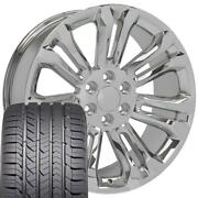 5666 Chrome 22x9 Wheels And Goodyear Tires Set Fit Gmc Chevy Cadillac
