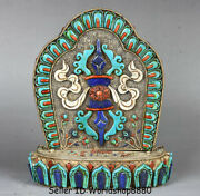 10.8old Tibet Silver Wire Inlay Turquoise Coral Gem Phurba Dagger Holder Statue