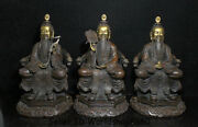 13.2 Old China Temple Purple Bronze Gilt The Very High Lord Laotse Statue Set