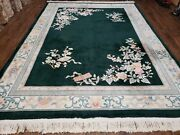 8and039 X 11and039 Vintage Hand Made Chinese Carving Sculpture Wool Rug Flowers Nice