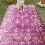 Yilong 5.6and039x8.2and039 Purple All Over Silk Rug Hand Knotted Hand-made Carpets 1838