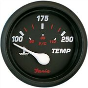Faria Professional Red 2 Water Temp Gauge 100 To 250f