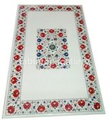 4and039x2and039 Marble Dining Table Top Carnelian Floral Inlay Restaurant Decorative W314a