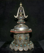 17.2 Old Tibet Buddhism Silver Wire Crystal Inlay Gem Stupa Pagoda Tower Statue