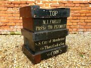 Mid 19thc English Antique Trunk / Wooden Crate Signed For Thomas Cook And Son