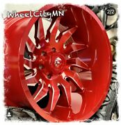 22 X12 Candy Red Milled Fuel D745 Saber Wheels Fits Ram 2500 3500 Gmc 8x6.5 -44