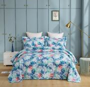 Coverlet 100 Cotton No Polyester King Single White Colour Tropical Foliage Bed