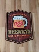 B. Rare Drewrys Beer Cheers Sign Vintage Advertisment South Bend Some Damage
