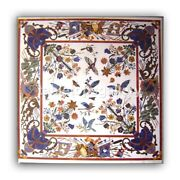 48 White Marble Dining Table Top Lapis Floral And Birds Inlay Hallway Decor W327b