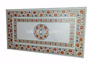 5and039x3and039 Marble Dining Table Tops Carnelian Floral Inlay Restaurant Art Decor W334b