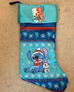 Disney Santa Hat Stitch And Scrump 19 Deluxe Blue Christmas Stocking