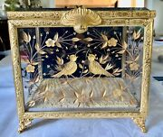 Authentic Faberge Crystal And 24k Gold Song Bird Plated Mulifunctional Large Box