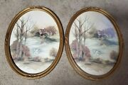 2x Syroco Homco Oval Picture Frames 3280 Lake Pond Stone Cottage House Swan Mcm