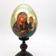 Religious Icon Egg On Stand Russian Hand Painted With Gold Leaf Wood One Of Kind