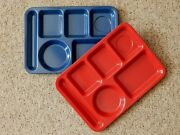 Vintage Pair Texas Ware Melamine Divided Cafeteria Trays Camping Blue Red Usa